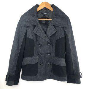 Guess Black & Grey Classic Pea Coat S/M